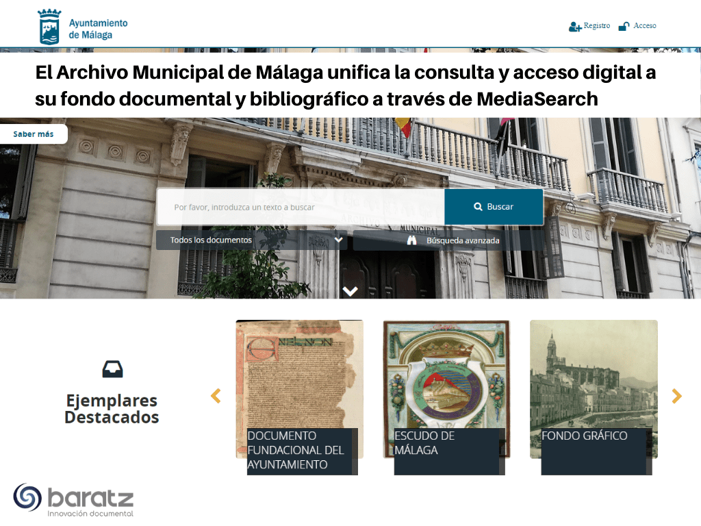 El Archivo Municipal de Málaga unifica la consulta y acceso digital a su fondo documental y bibliográfico a través de MediaSearch