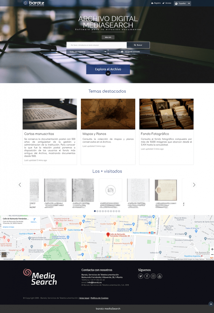 Página inicio MediaSearch 2.2