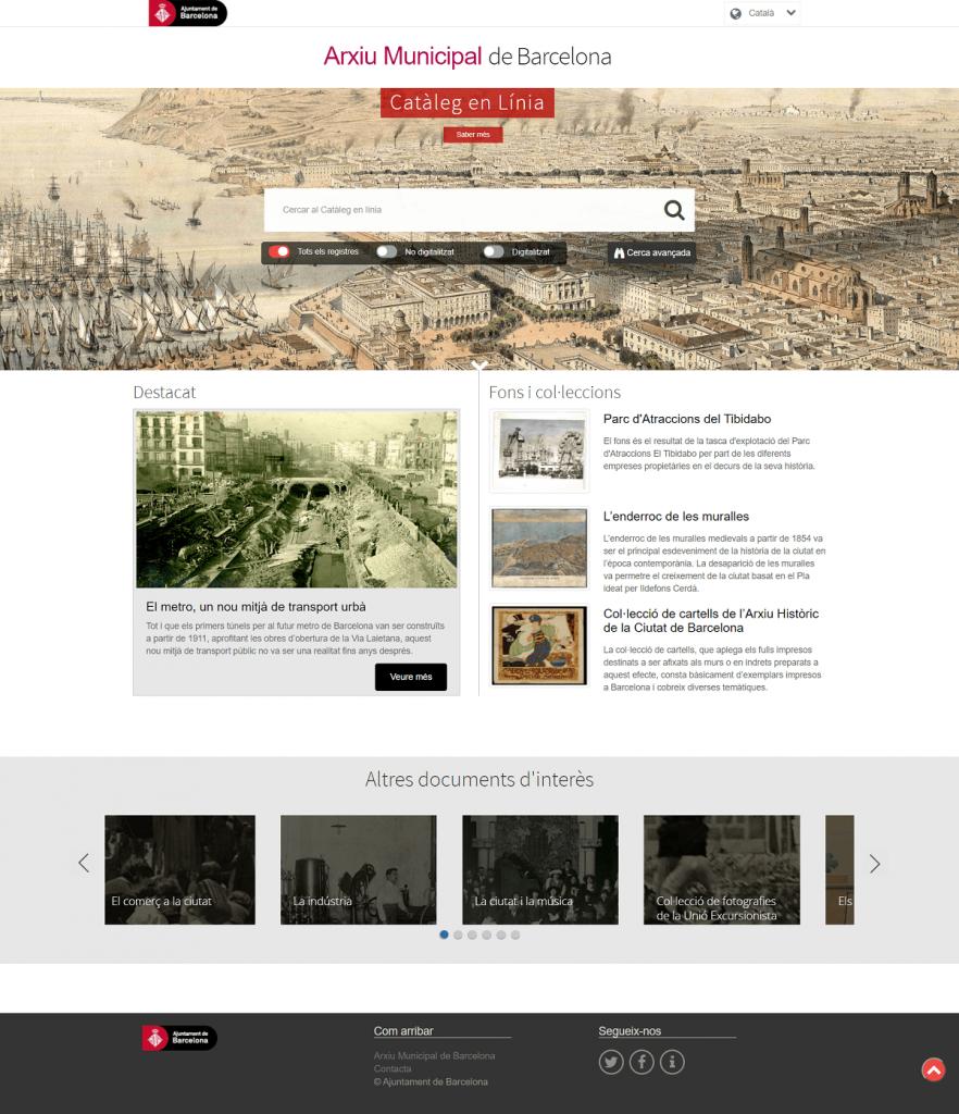 Nueva versión catálogo en línea Archivo Municipal de Barcelona