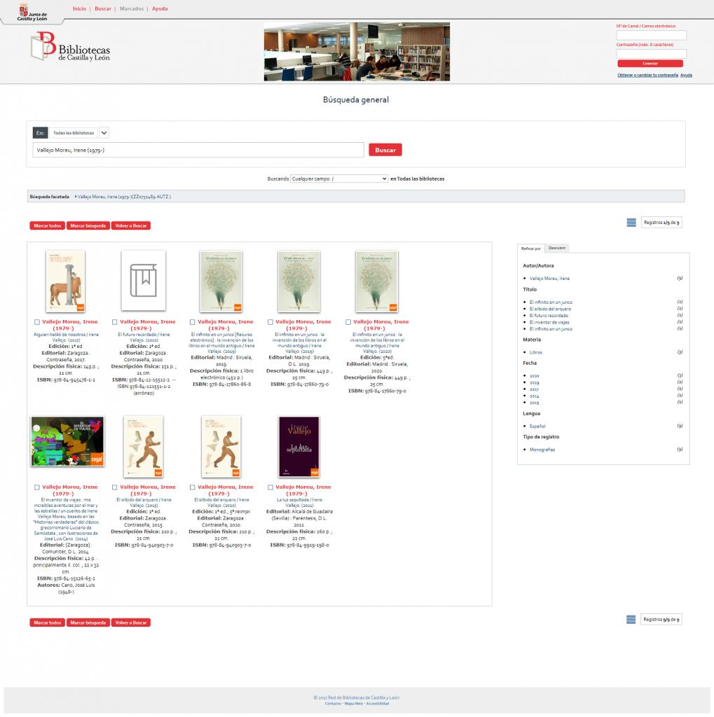 Red de Bibliotecas de Castilla y León imágenes catálogo portadas Todos tus libros