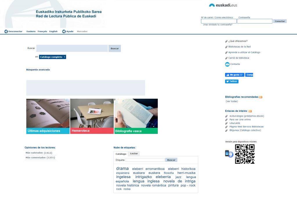 Catálogo de la Red de Lectura Pública de Euskadi (RLPE)